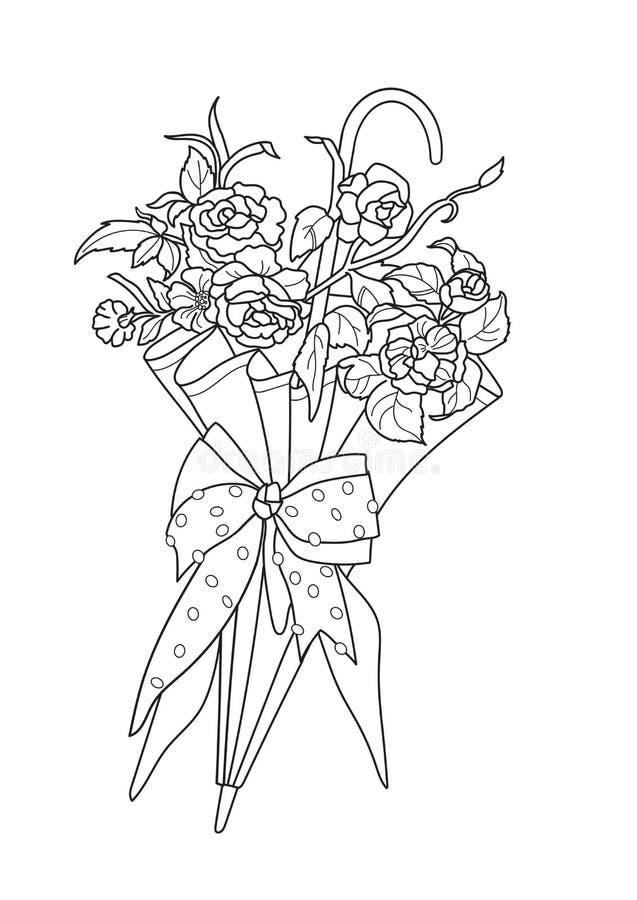 Kleurpagina Zentangle Afbeelding kleuren met paraplu- en lentesbloemen Freehand-schetstekening voor het kleurenboek voor volwasse stock illustratie