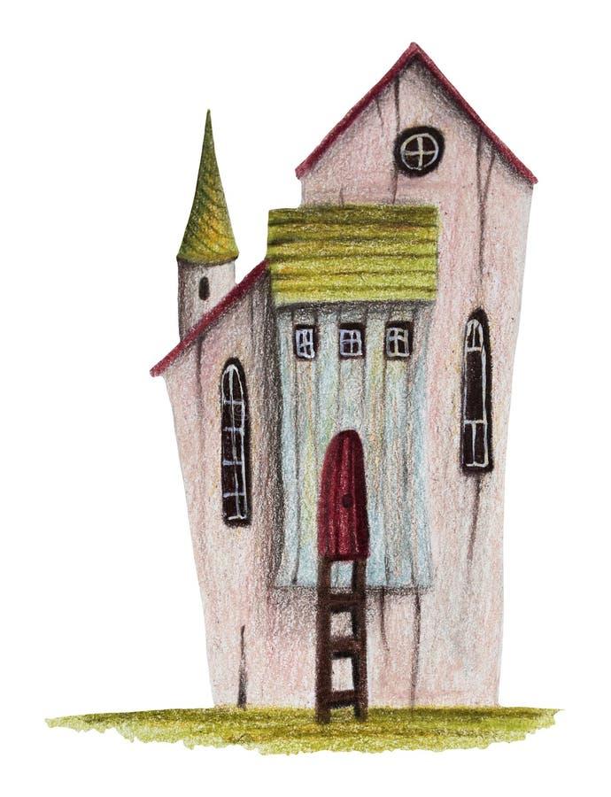 Kleurpotloden die huis - het 'huis trekken van de Houtvester ' royalty-vrije illustratie