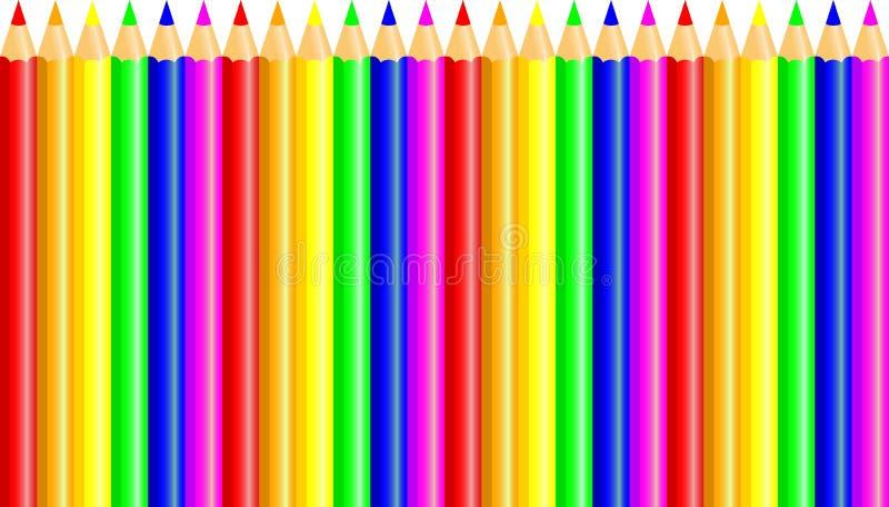Kleurpotloden - kleurpotlood geplaatst los geschikt - vector op witte achtergrond stock illustratie