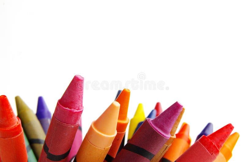 Kleurpotloden op wit royalty-vrije stock afbeelding
