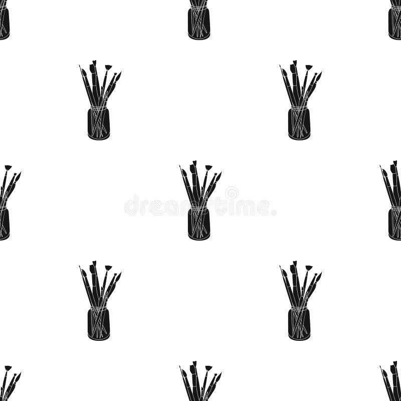 Kleurpotloden voor tekening in doospictogram in Zwarte die stijl op witte achtergrond wordt geïsoleerd Kunstenaar en tekeningspat royalty-vrije illustratie