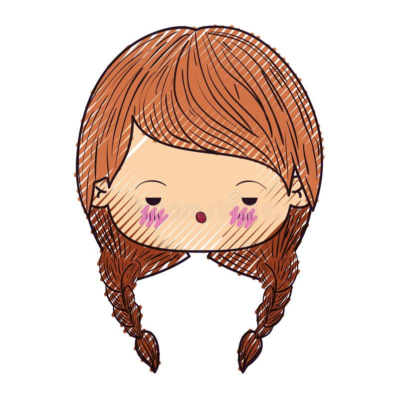 Kleurpotloodsilhouet van kawaii hoofd leuk meisje met gevlecht haar en gedeprimeerde gelaatsuitdrukking royalty-vrije illustratie