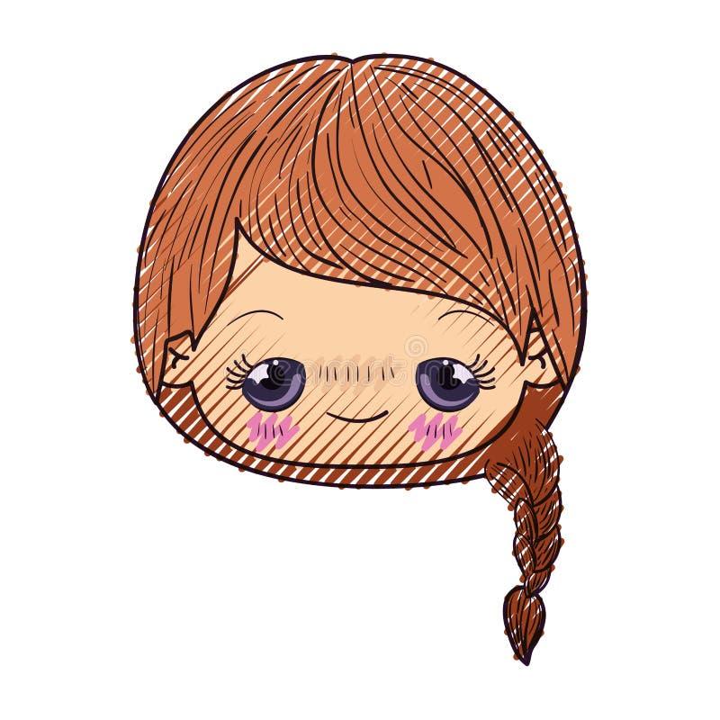 Kleurpotloodsilhouet van kawaii hoofd leuk meisje met gevlecht haar en pijnlijke gelaatsuitdrukking stock illustratie