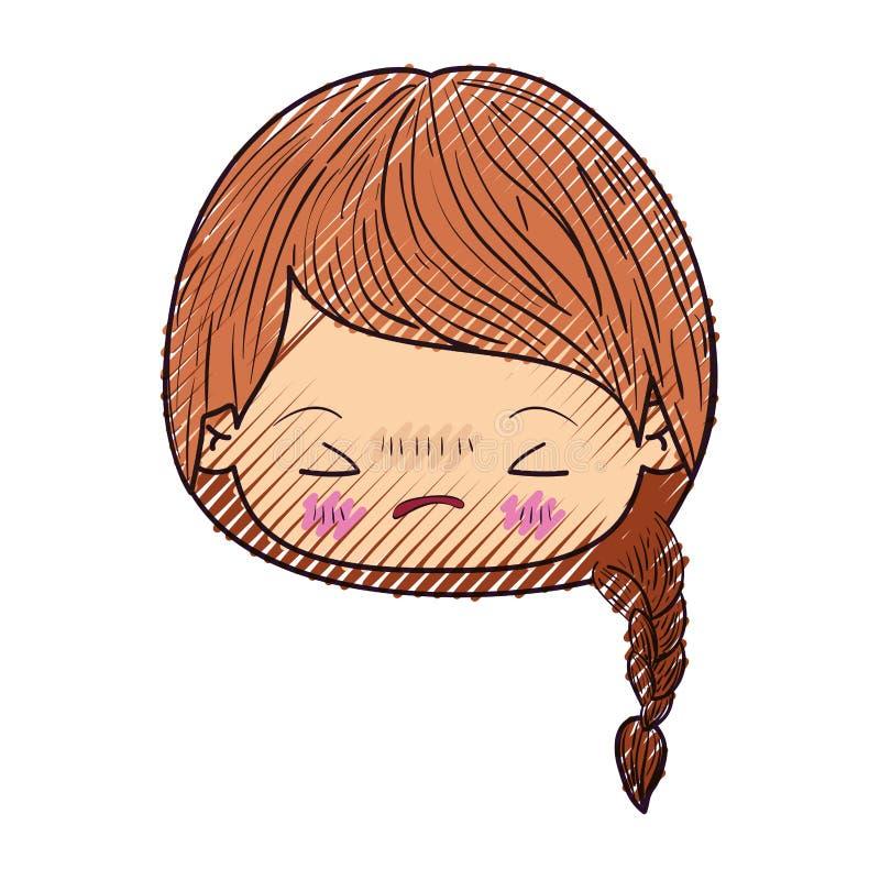 Kleurpotloodsilhouet van kawaii hoofdmeisje met gevlecht haar en gelaatsuitdrukking boos met gesloten ogen vector illustratie