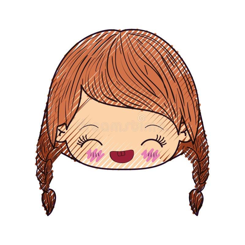 Kleurpotloodsilhouet van kawaii hoofdmeisje met gevlecht haar en gelaatsuitdrukkinggeluk met gesloten ogen royalty-vrije illustratie