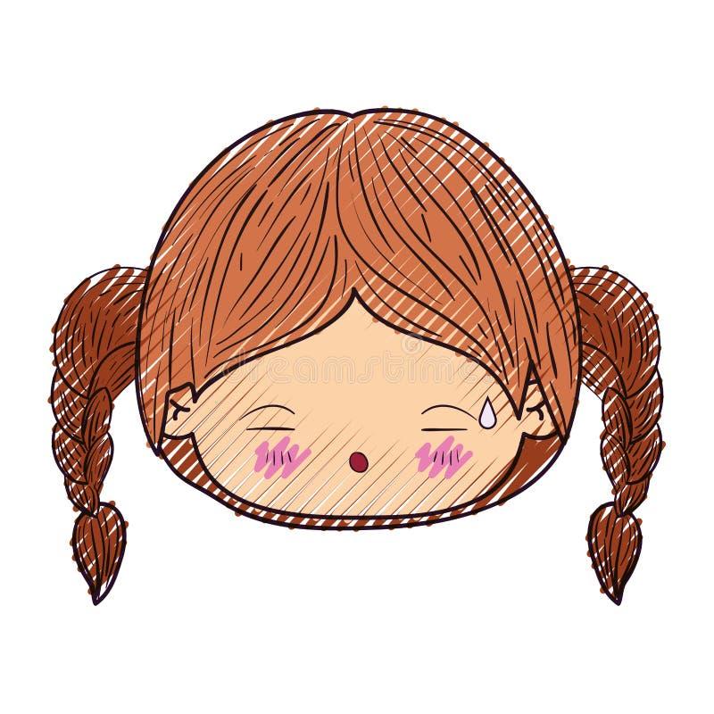 Kleurpotloodsilhouet van kawaii hoofdmeisje met gevlecht haar en vermoeide gelaatsuitdrukking stock illustratie
