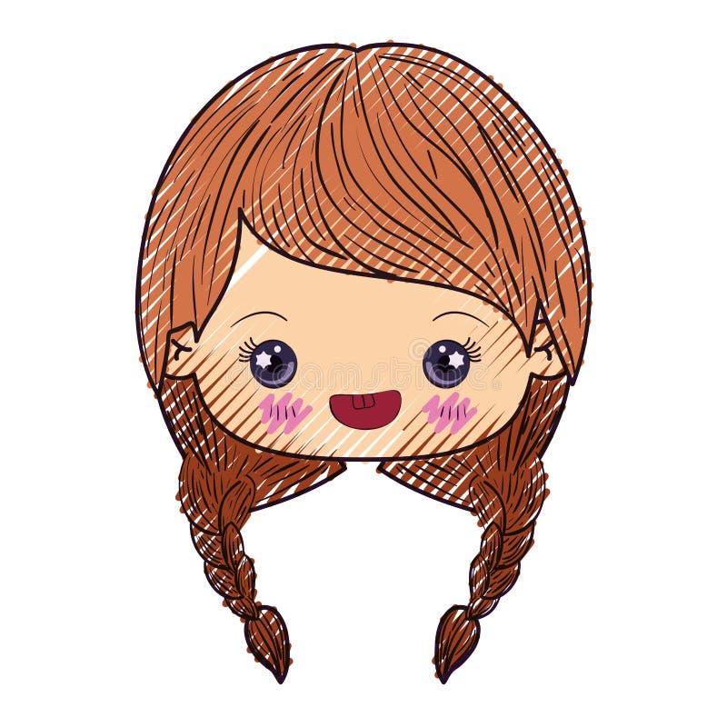 Kleurpotloodsilhouet van kawaiihoofd van leuk meisje met gevlecht haar en het glimlachen royalty-vrije illustratie