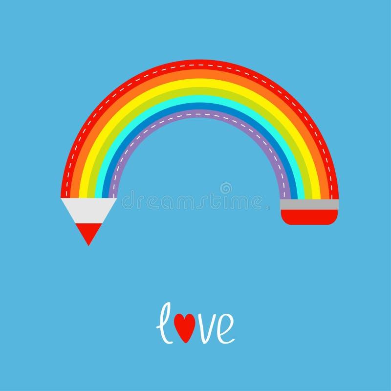 Kleurpotloodvorm van regenboog in de hemel Liefde stock illustratie