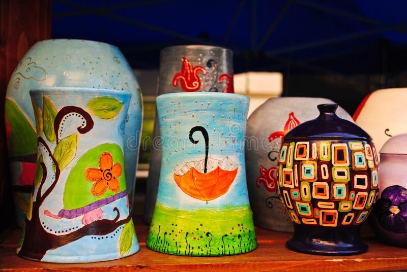 Kleurrijk aardewerk stock fotografie