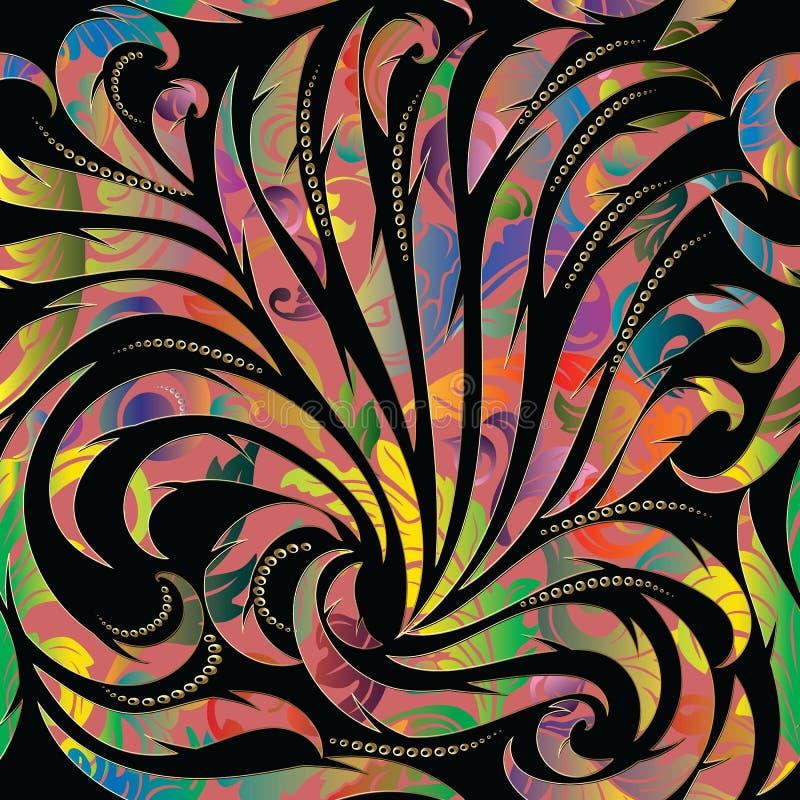Kleurrijk abstract bloemen naadloos patroon Vectorachtergrond wal stock illustratie