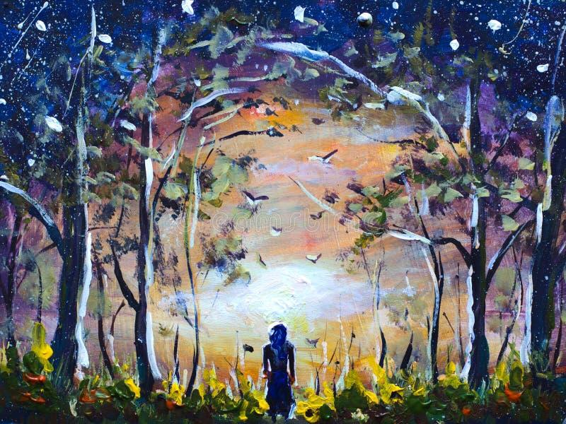 Kleurrijk abstract met de hand gemaakt schilderend a-meisje in een mooie mystieke bosdroom Dawn in bos Sterrige hemel Het landsch stock illustratie