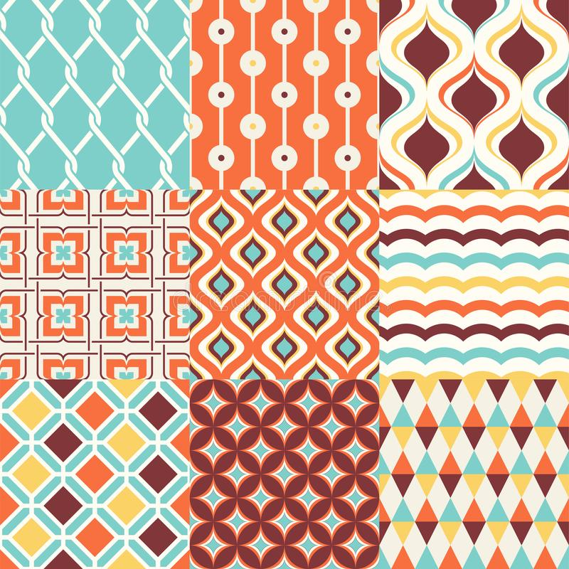 Kleurrijk abstract retro modieus naadloos geometrisch kussenpatroon stock illustratie