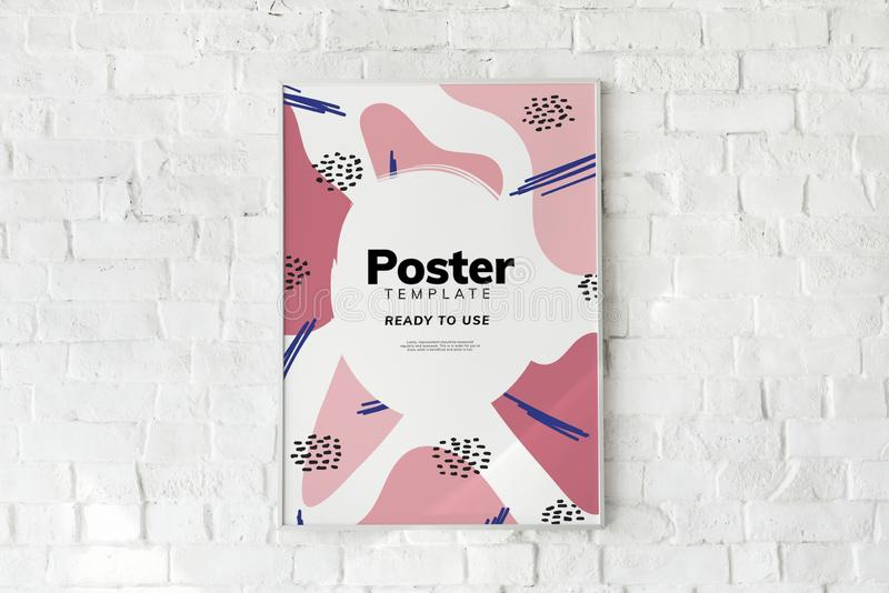 Kleurrijk affichemalplaatje op een witte bakstenen muur vector illustratie