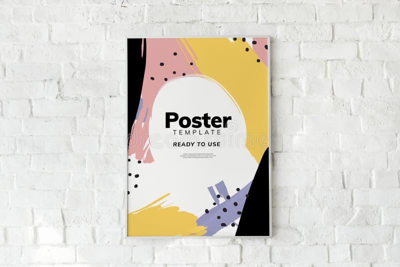 Kleurrijk affichemalplaatje op een witte bakstenen muur royalty-vrije stock foto's