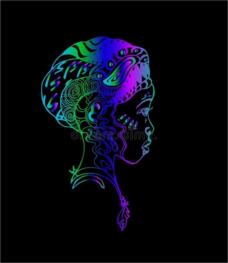 Kleurrijk Afrikaans meisje in profiel De illustratie van de tatoegeringskunst stock illustratie