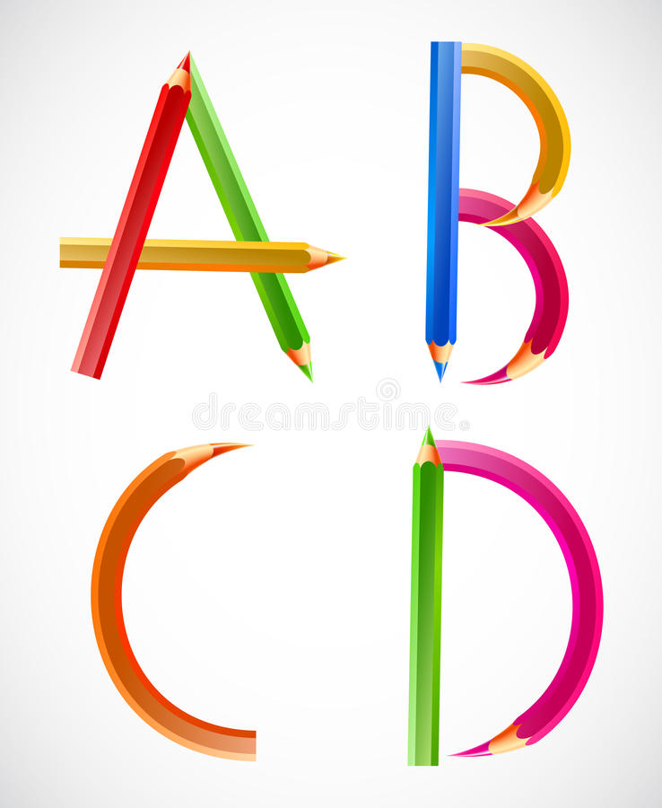 Kleurrijk alfabet van potloden (A, B, C, D). Vector stock illustratie