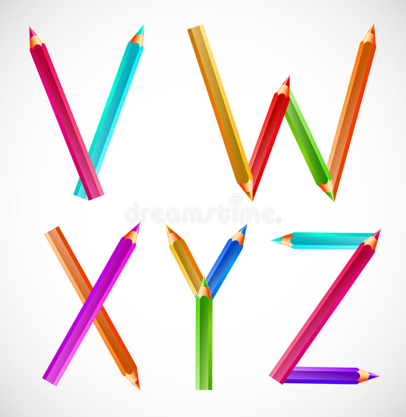 Kleurrijk alfabet van potloden (V, W, X, Y, Z) vector illustratie