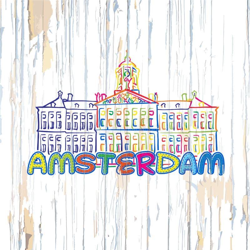 Kleurrijk Amsterdam die op houten achtergrond trekken royalty-vrije illustratie