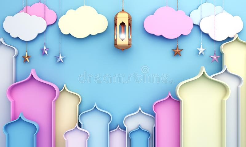 Kleurrijk Arabisch venster, wolk, lantaarn, ster op blauwe achtergrond royalty-vrije illustratie