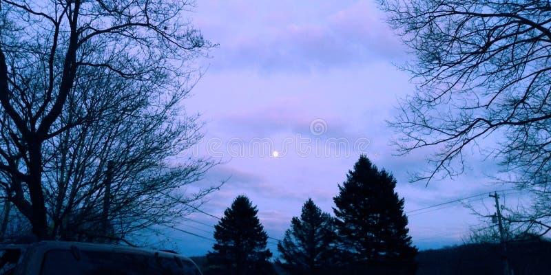 Kleurrijk Autumn Moonlit Sky royalty-vrije stock afbeeldingen