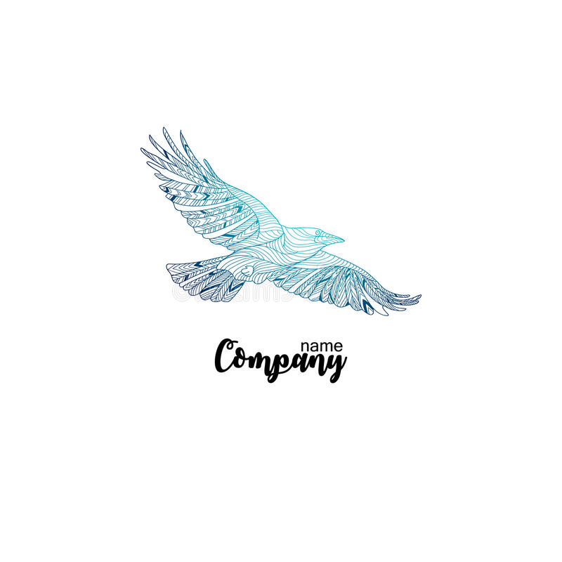Kleurrijk bedrijfpictogram van vliegende kraai Embleemontwerp voor bedrijf vector illustratie