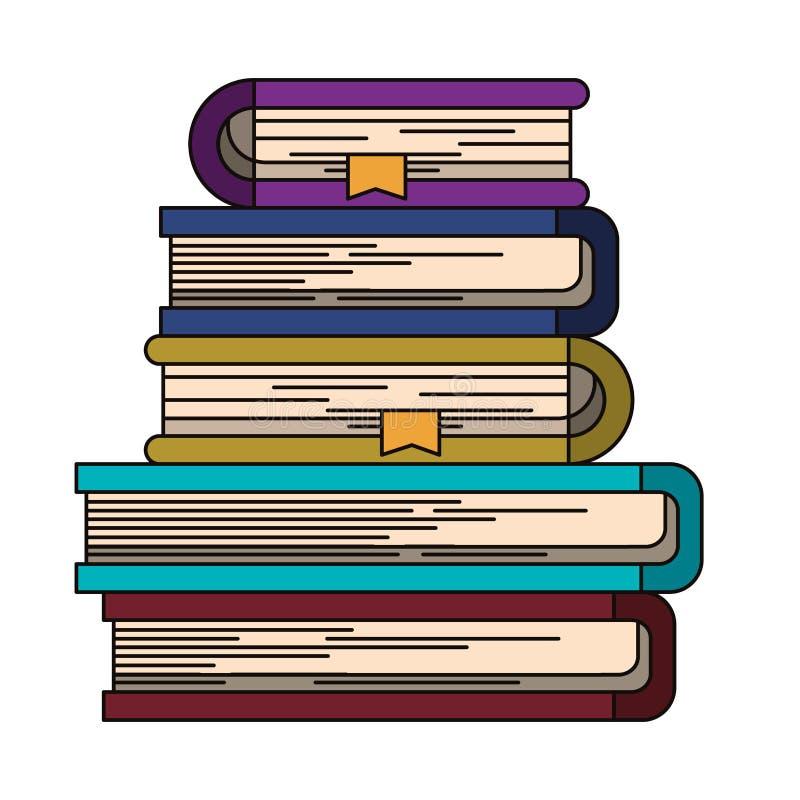 Kleurrijk beeld van stapel boeken met referentie royalty-vrije illustratie