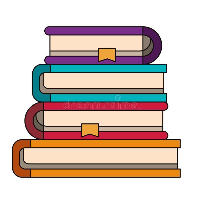 Kleurrijk beeld van stapelinzameling van boeken met referentie stock illustratie