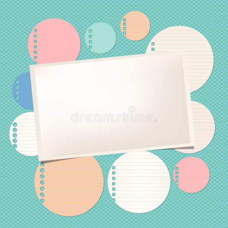 Kleurrijk beslist om nota, notitieboekje, voorbeeldenboekblad, rechthoekdocument met kader op geregeld patroon vector illustratie