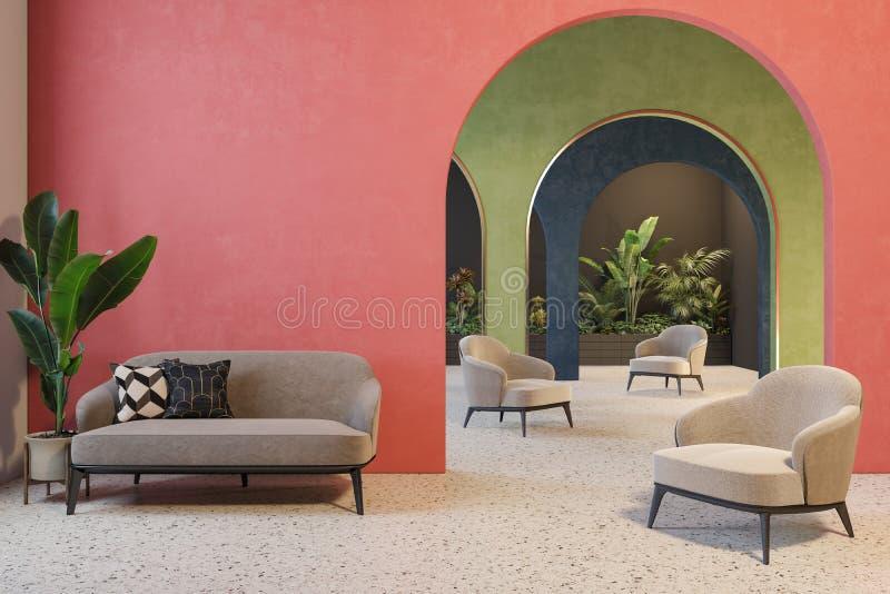Kleurrijk binnenland met archs, bank, leunstoelen, terrazzovloer en installaties royalty-vrije illustratie