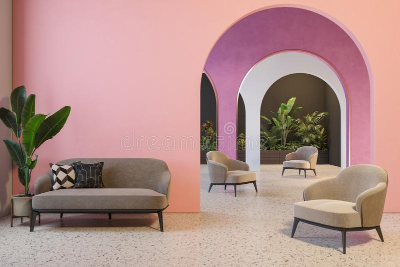 Kleurrijk binnenland met archs, bank, leunstoelen, terrazzovloer en installaties vector illustratie