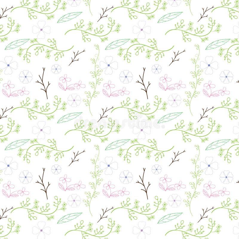 Kleurrijk bloem en wijnstok naadloos patroonontwerp op witte achtergrond Vector illustratie royalty-vrije illustratie