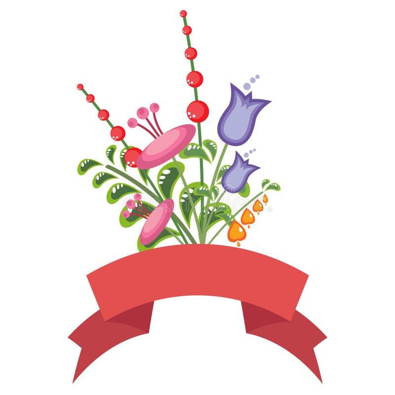 Download Kleurrijk Bloemboeket Met Een Rode Banner Vector Illustratie - Illustratie bestaande uit kleur, ontwerp: 39106525