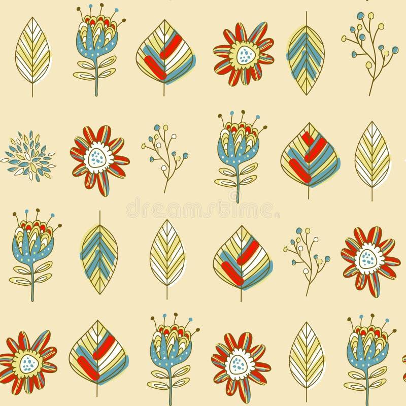 Kleurrijk bloemen en bladerenpatroon royalty-vrije illustratie