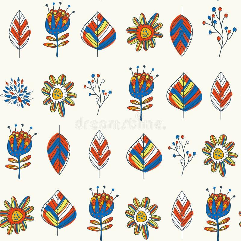 Kleurrijk bloemen en bladerenpatroon stock illustratie