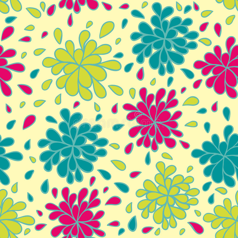 Kleurrijk Bloemen Naadloos Patroon Stock Afbeeldingen