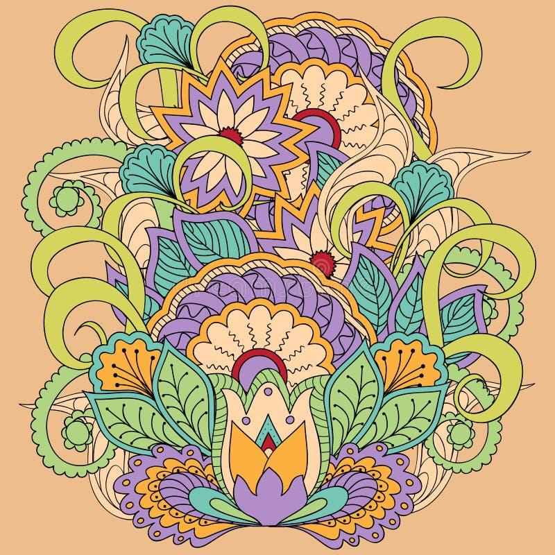 Kleurrijk bloemenbeeld in bohostijl royalty-vrije illustratie