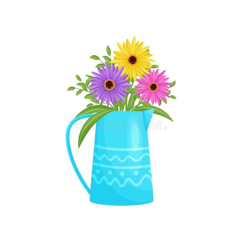 Kleurrijk bloemenboeket in blauwe vaas Vector illustratie stock illustratie