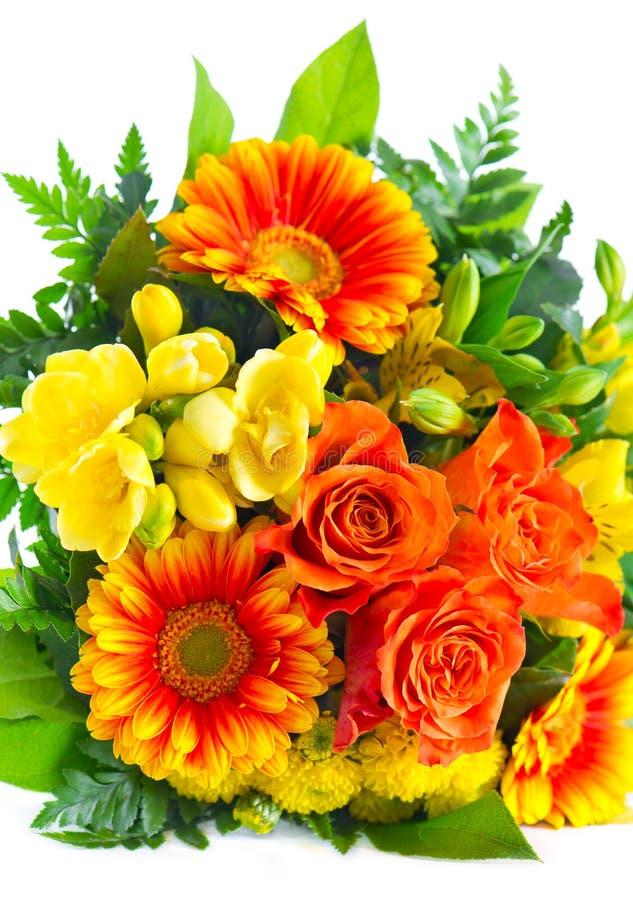 Kleurrijk bloemenboeket. rozen en gerbera royalty-vrije stock fotografie