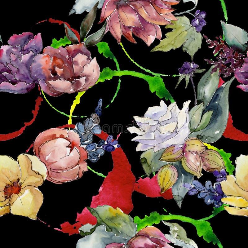 Kleurrijk boeket Naadloos patroon als achtergrond De druktextuur van het stoffenbehang stock illustratie