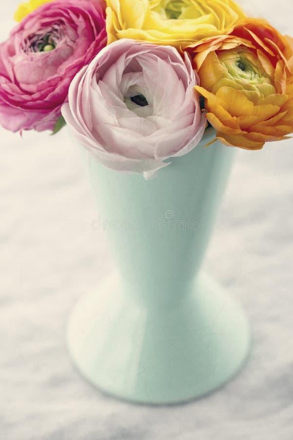 Kleurrijk boeket van ranunculus bloemen royalty-vrije stock afbeeldingen
