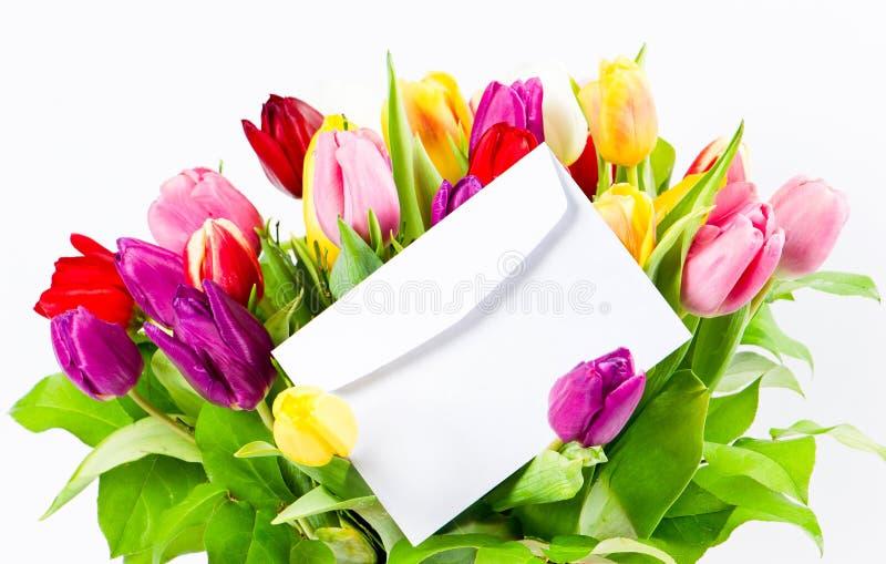 Kleurrijk boeket van verse tulpen royalty-vrije stock afbeelding