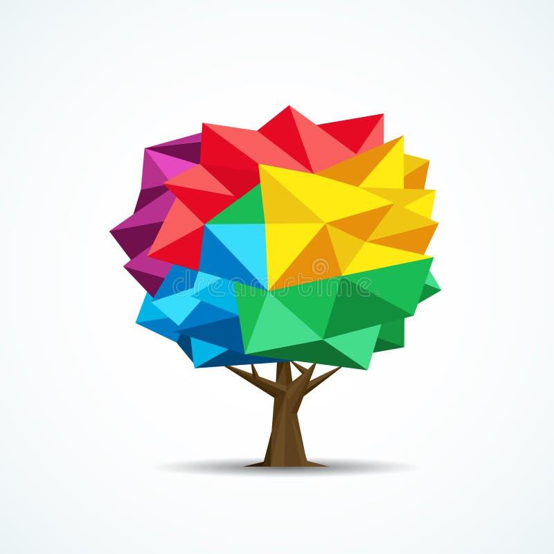 Kleurrijk boompictogram Geometrisch veelhoekontwerp royalty-vrije illustratie
