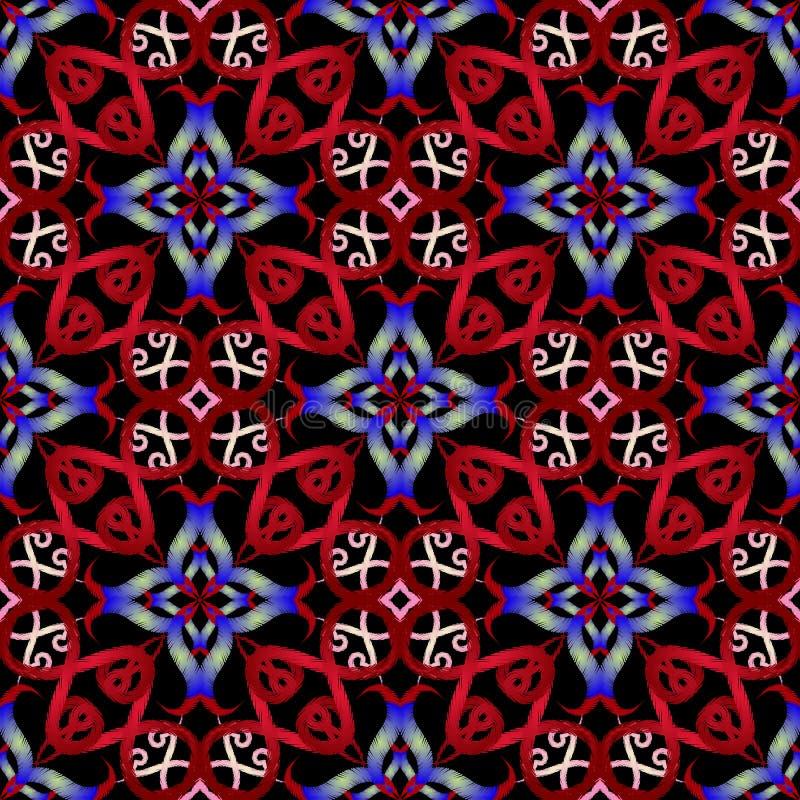 Kleurrijk borduurwerk oosters vector naadloos patroon Grunge sier uitstekende achtergrond Herhaal de Arabische achtergrond van he royalty-vrije illustratie