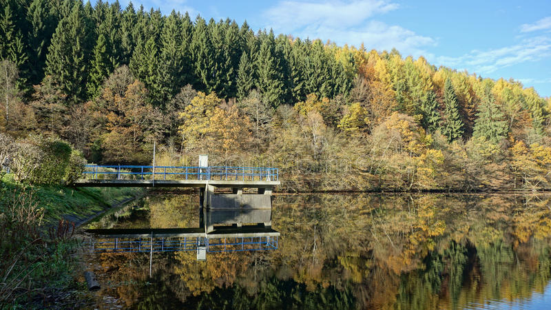Kleurrijk bos bij Dam van de Rivier Rengse, Duitsland stock fotografie