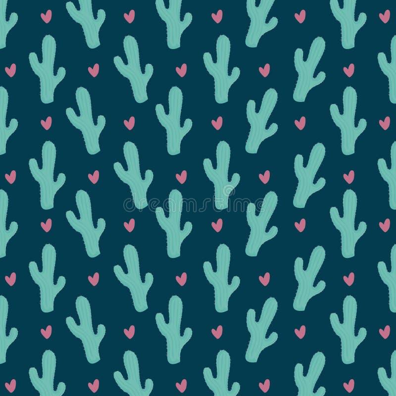 Kleurrijk cactus naadloos patroon stock illustratie