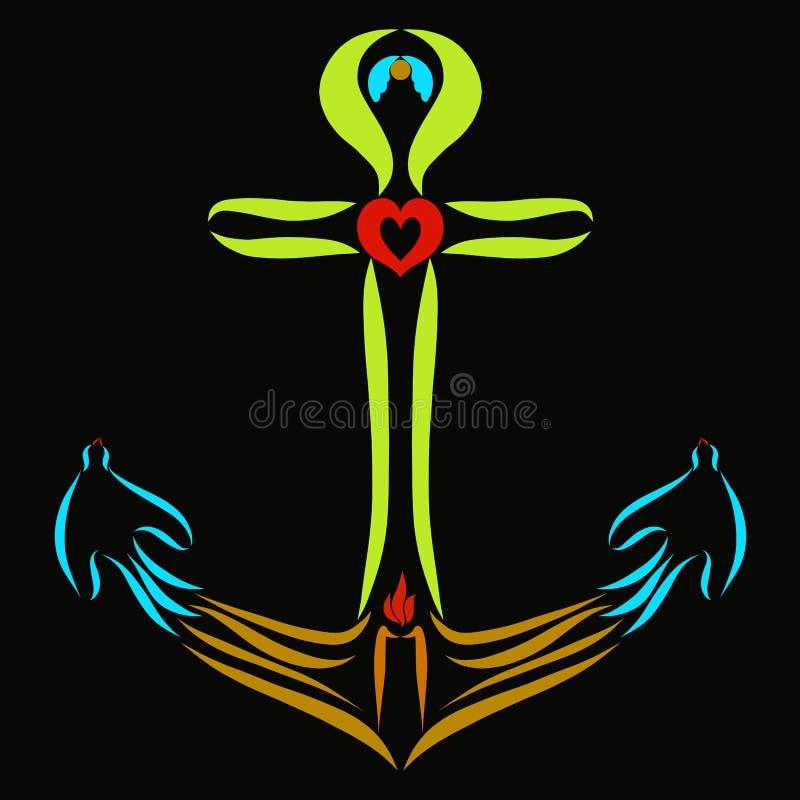 Kleurrijk Christelijk anker op een zwarte achtergrond royalty-vrije illustratie