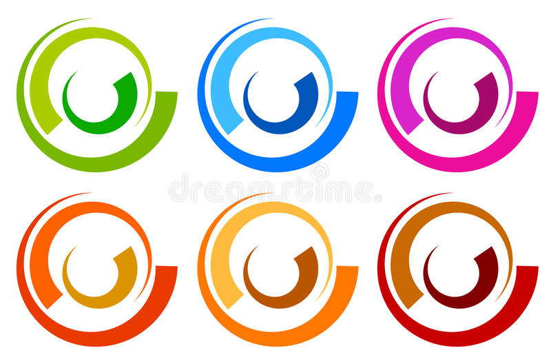 Kleurrijk cirkelembleem, pictogrammalplaatjes gesegmenteerd concentrisch circl stock illustratie