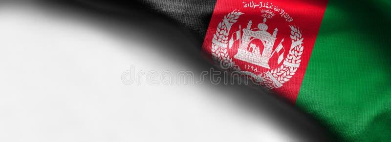 Kleurrijk, close-up, golvende stoffenvlag van Afghanistan op witte achtergrond - juiste hoogste hoekvlag stock afbeeldingen