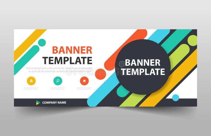 Kleurrijk creatief bedrijfsbannermalplaatje, kopbaldekking voor het malplaatje van het websiteontwerp Horizontaal bannermalplaatj royalty-vrije illustratie
