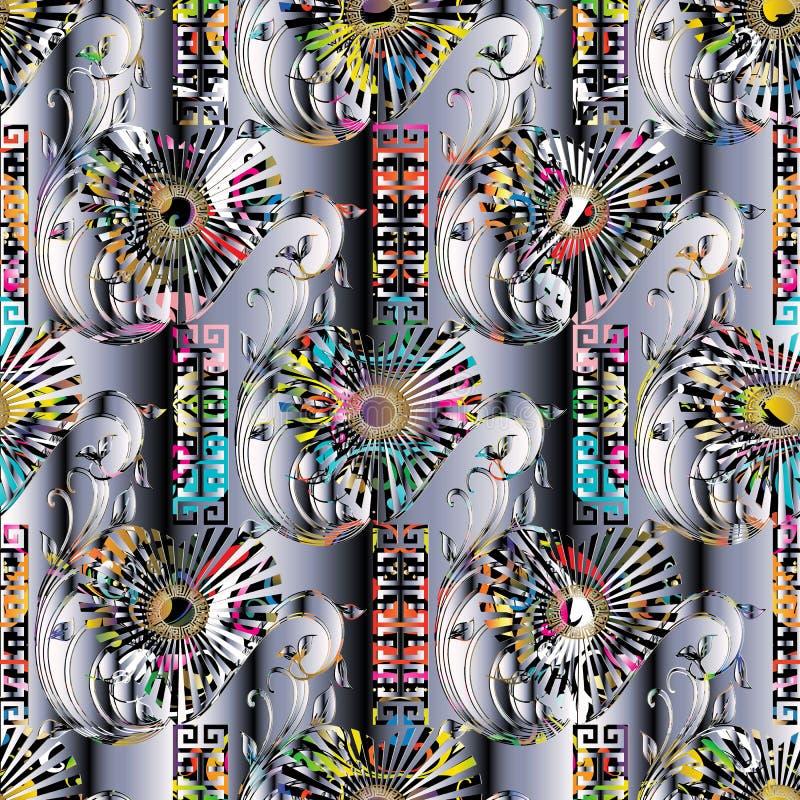 Kleurrijk 3d Grieks vector naadloos patroon Moderne achtergrond wal stock illustratie